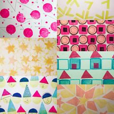 #PatternJanuary  Clockwise from upper left: #flamingo, #palm, #bakedgoods, #house, #folkart, #rhymeswithat, #bright,