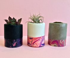 We are excited to offer our best selling mini concrete planters with a marbleized band with a great pop of color with fuchsia, coral and pink. Perfect for spring, weddings, baby shower favors. Select white, black or gray concrete in cylinder or square with beveled edges. Order set of Concrete Crafts, Concrete Wood, Concrete Projects, Cement Design, Clay Design, Concrete Planters, Diy Planters, Interior Design Plants, Fabric Stamping