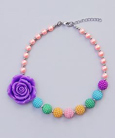 Pink &Teal Flower Beaded Necklace