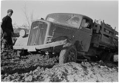 German made Opel Blitz truck on a poor winter road in Finnish front, April 1942.