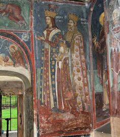 Cozia hospital church, 'bolnița' son Marcu, daughter Zamfira and wife Lady Ruxanda (Neagoe Basarab's daughter) Mural Painting, Romania, Catholic, Medieval, Culture, Antiques, Europe, Daughter, Portraits