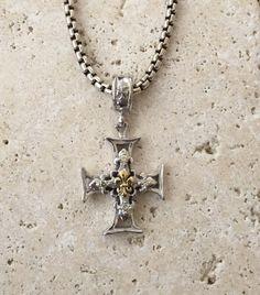 Gothic Silver Diamond Gold Cross by Roman Paul Jewelry design. #romanpaul