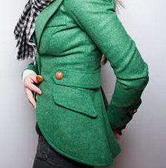 Rare Vintage Smythe Hunting Jacket in Kelly Green Tweed Blazer Size 4 2