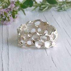 Honeycomb Ring Band in Sterling Silver by Chase and Scout. Curious handmade jewelry for men and women, based in Austin Texas.