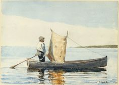 """Winslow Homer. Boy in a Dory, 1881. Watercolor on paper; 9-3/4"""" x 13-3/4. Bequest of Charles C. Cunningham. 1980.6"""