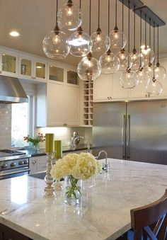 Modern kitchen lighting fixtures home lighting ideas decorations house styl Kitchen Decorating, Home Decor Kitchen, New Kitchen, Kitchen Ideas, Vintage Kitchen, Awesome Kitchen, Kitchen Planning, Kitchen Themes, Kitchen Small