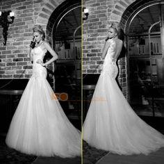 Elegant Mermaid Spaghetti Straps Wedding Dresses Lace Backless Bridal Gowns 2013