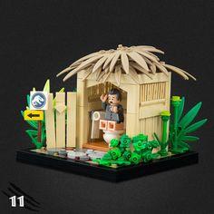 Legos, Lego Jurassic Park, Casa Lego, Jurrassic Park, Lego Minifigure Display, Lego Wall, Lego Sculptures, Micro Lego, Lego Bedroom