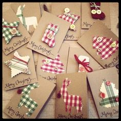 Christmas Card - Essential products for this project can be found on Crafting.co.uk - for all your crafting needs. - Lovely tags to make for Christmas gifts wrapped in brown paper.