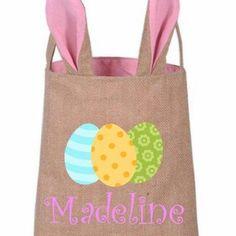Easter Basket, Personalized Easter basket, Monogrammed Easter basket, Burlap Easter Basket, Easter Bunny Basket by RockinYDesign on Etsy