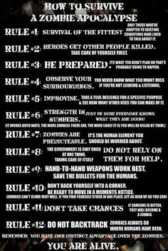 12 Rules: How To Survive A Zombie Apocalypse hahaha.too funny.for all my zombie friends out there! Zombie Survival Guide, Survival Prepping, Emergency Preparedness, Survival Skills, Zombies Survival, Wilderness Survival, Survival Bow, Survival Videos, Emergency Kits