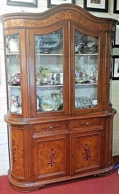 """Vintage Italian Display China Cabinet Curved Sides Glass Top 90""""h  62""""w 17""""d #Traditional"""