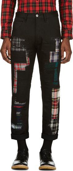 df5b2a2eb6d Junya Watanabe - Black Patchwork Jeans Mens Bootcut Jeans
