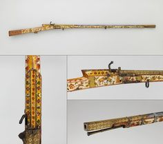 #matchlock #guns  #india - Seringapatam Early 12th century Steel, wood, silver, gold, copper alloy Matchlock guns were first introduced to India in 1526 by the Portuguese. Primarily for use in warfare, they also became a favored weapon for hunting predators, such as lions, tigers, crocodiles, boars, and bears. While some matchlocks had folding forked stands to provide more stability when fired on the ground, hunters on royal expeditions often aimed at their targets advantageously from…