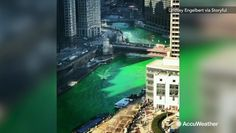 A tradition on St. Patrick's Day is the Chicago River turning green. People gather every year to watch the process and take photos of the unique sight. The tradition has been taking place for over 50 years. History Of Earth, Chicago River, Go Green, Aerial View, Rooftop, Videos, Cyber, Turning, Mansions