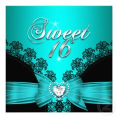 Sweet 16 Sixteen Aqua Blue Black Lace Personalized invitations and cards by Zizzago.com