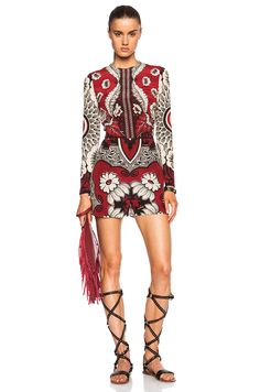 Valentino Foulard Print Crepe Long Sleeve Romper in Red