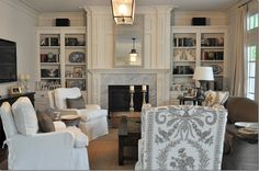 Family Room Built Ins, Transitional, living room, Cote de Texas Living Room With Fireplace, Home Living Room, Living Spaces, Living Area, Cozy Living, Living Room Furniture Layout, Office Furniture, Transitional Living Rooms, Furniture Placement