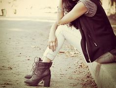 Lace up ankle boots.