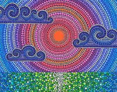 "A Cloudy Sunset"" Posters by Elspeth McLean Mandala Art, Mandala Rocks, Mandala Painting, Dot Art Painting, Stone Painting, Kunst Der Aborigines, Elspeth Mclean, Aboriginal Art, Stone Art"
