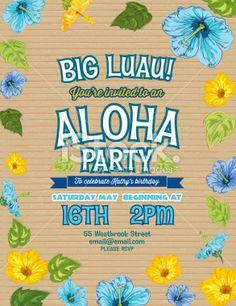 Aloha hawaiian party horizontal invitation template the summer party aloha hawaiian party invitation with hibiscus flowers and leaves stopboris Gallery