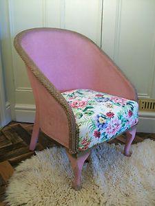 Vintage Retro Antique Pink Gold Lloyd Loom Bedroom Easy Chair, Shabby Chic Roses | eBay