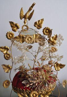 SUPERB 1890s Antique FRENCH Globe de Mariee/ Marriage globe w BRIDAL Tiara Velvet display gold garland birds wax flowers leaves Wedding