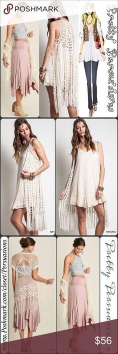 Spotted while shopping on Poshmark: SALENWT Boho Crochet Fringe Maxi Cardigan…