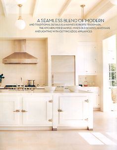 Blend of modern & traditional | Haynes Roberts.  white kitchen with great ceiling.  home decor and interior decorating ideas.  light and bright rooms.