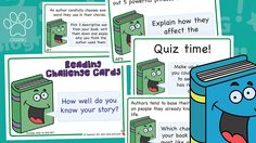KS2 Reading Challenge Cards (Pack 1) This is the perfect pack of 10 challenge cards to give to children during free reading time as well as after guided reading sessions. Additional packs for Key Stage Two are available as well as Key Stage one versions. To check out all our other amazing Guided Readingthemed resources, simply click the Topic Tags... - www.tpet.co.uk - Classroom Resources by Teacher's Pet Reading Time, Card Reading, Guided Reading, Free Reading, Comprehension Ks2, Challenge Cards, Diary Writing, Teacher's Pet