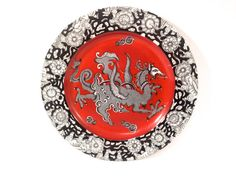 Antique Dragon Plate Mason's Rare Red by CrackedVesselVintage