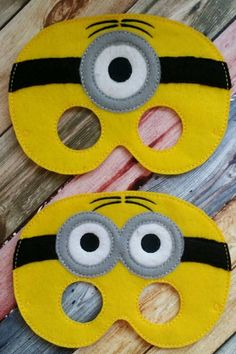 Minion Masks made and sold by Heart Felt Embroidery. $7 yes we ship and do paypal! www.facebook.com/heartfeltembroidery Design credit - Gracefully geeky Felt Embroidery, Machine Embroidery, Minion Mask, Kids Dress Up, Book Week, Felt Hearts, Mask Making, Make And Sell, Kids And Parenting