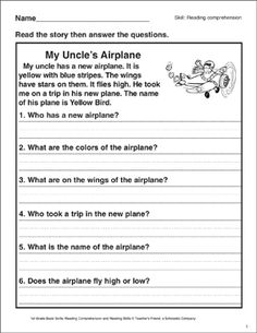 Help children develop reading comprehension by reading a short passage and answering questions. Prior experience with all types of questions recommended. First Grade Reading Comprehension, Reading Comprehension Worksheets, Reading Skills, Guided Reading, English Phrases, English Language, English Grammar, Educational Activities For Kids, English Activities