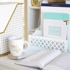 Clean, white office decor.  Office Organization. Clean Office. White and Gold Office. Simplified Planner.