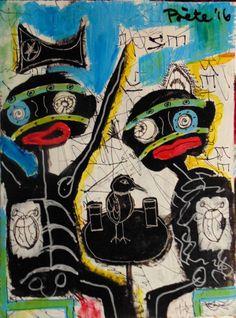 Dos personas bebiendo, con un corazón en forma de mariquita y un pájaro entre sus bebidas.  El de la izquierda busca una revolución el de la derecha el conformismo, podría ser una crítica de la política actual ¿no?