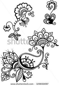 Resultado de imagen para henna flower vectors