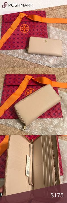 """Tory  Burch york zip continental wallet NWT Tory Burch polyurethane-coated saffiano leather continental wallet. Removable wristlet strap; 6.6""""L. Logo medallion at top center. Zip-around closure. Inside: 18 card slots, bill slots, and one zip compartment. 4.2""""H x 8.4""""W. Authentic and brand new never used Tory Burch Bags Wallets"""