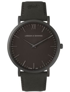 Larsson & Jennings - All Black Leather Watch by Larsson & Jennnings - Swiss Made