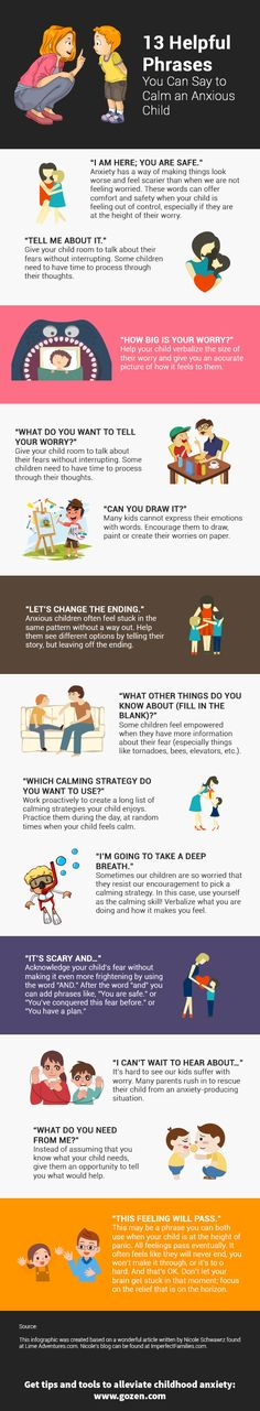 Try these 13 Phrases to Calm Your Anxious Child (Here's the article this infographic is based on: http://lemonlimeadventures.com/what-to-say-to-calm-an-anxious-child/ )
