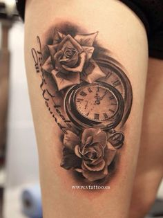 Rose and watch tattoo
