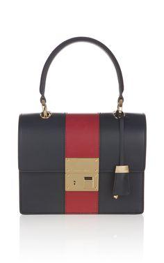 3Michael Kors - Navy and Crimson Middleton Square Flap Stripe Bag