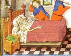 A simple bed from the 1430's (Hours of Catherine of Cleves).