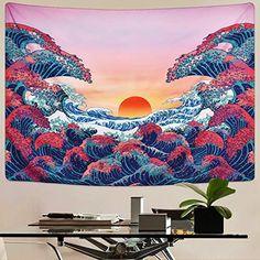 Sevenstars Wave Tapestry Trippy Sunset Tapestry Psychedelic Ocean Wave Tapestry Great Wave Tapestry for Room Hippie Bedroom Decor, Hippy Bedroom, Dream Bedroom, Tapestry Bedroom, Wall Tapestry, Trippy Tapestry, Amazon Home, Tapestry Design, Awesome Bedrooms