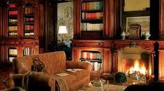 I want my own home library SO bad! Books floor to ceiling covering every wall, a big comfy couch, a huge mahogany desk, and a fireplace. It would not be complete without the fireplace. My Living Room, Living Room Decor, Cottage Living, Cozy Living, Library Fireplace, Cosy Fireplace, Fireplace Surrounds, Cozy Library, Dream Library