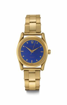 Lot 173 Rolex. An Extremely Rare and Attractive 18k Gold Automatic Wristwatch with Center Seconds, Bracelet and Blue Enamel Dial SIGNED ROLEX, OYSTER PERPETUAL, REF. 6290, CASE NO. 975'509, CIRCA 1953 Estimate USD 100,000 - USD 200,000