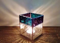 Candle Holder - Stained Glass - Purple - Turquoise - Clear - Home Decor - Lighting - Votive Holder - Modern Decor - Pencil Holder by StainedGlassYourWay on Etsy