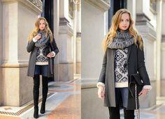 Mango Coat, Zara Over The Knee Boots, H&M Embellished Sweater