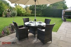 Enjoy eating outdoors in comfort with our Maze Rattan Garden Furniture for sale. Order Maze Rattan Garden Furniture Online in brown, grey or natural weave. Rattan Garden Furniture Sets, Fire Pit Furniture, Outdoor Dining Furniture, Outdoor Living, Furniture Ideas, Furniture Design, Round Dining Set, Dining Sets, Garden Dining Set