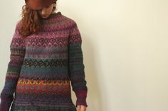 Handmade bright and colorful Icelandic style sweater by TASSSHA