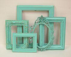 for you @Sarah Melvin! || Aqua Picture Frame Set $69.00, via Etsy.